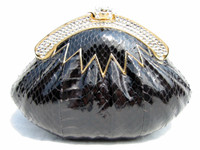 BLACK 1970's Hard-Sided Snake Skin Cobra Evening Bag - Rhinestones