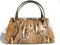 Stunning 1950's PYTHON Snake Skin Purse w/Fancy Silver Filigree Clasp