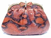 1970's Peach/Purple PYTHON Snake Skin Clutch Shoulder Bag