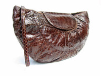 "LONG 16"" 1950's COBRA Snake Skin Deco Style Clutch Purse - DEITSCH"