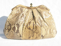 1970's-80's PYTHON Snake Skin CLUTCH Shoulder Bag - PALIZZIO