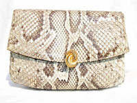 MANON 1960's PYTHON Snake Skin CLUTCH Shoulder Bag