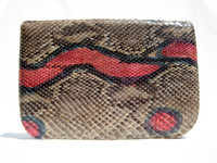 Pastel Python Snake Skin Clutch Shoulder Bag - VARON