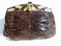 1970's-80's FINESSE LA MODEL BROWN COBRA Snake Skin Clutch Bag