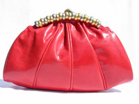 1980's-90's Red SUSAN GAIL KARUNG Snake Skin CLUTCH Bag
