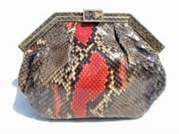 1980's SLATE BLUE & RED PYTHON Snake Skin Clutch - COLOMBETTI