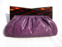 PURPLE 1960's Deco Style Cobra Snake Skin Clutch with Lucite Frame