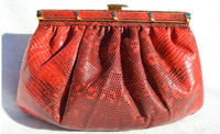 1980's-90's Tomato RED RING LIZARD Skin Clutch Bag - WALTER KATTEN - with BOX!
