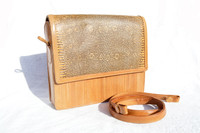 Unique 1980's-90's MONITOR (Ring) Lizard & EEL Skin CLUTCH Bag