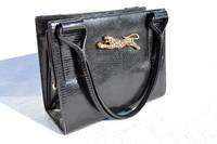 MARTIN VAN SCHAAK 1950's-60's BLACK Lizard Skin Handbag - JAGUAR!