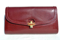 GUCCI 1980's-90's BURGUNDY Red Lizard Skin CLUTCH Shoulder Bag - Jewels