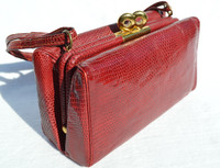 Ruby RED 1950's-60's LIZARD Skin Shoulder Bag - by ALAN!