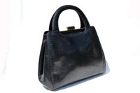 Gorgeous 1990's Jet Black Lizard Skin Handbag Shoulder Bag - SUAREZ