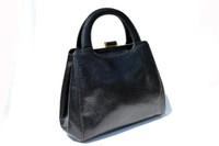 Gorgeous 1990's Jet Black Lizard Skin Handbag Shoulder Bag - SUAREZ