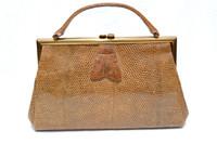 Large 1940's-50's Caramel Deco-Style Lizard Skin Handbag