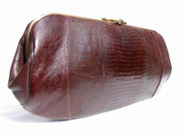"Timeless 13.5"" 1950's-60's CHOCOLATE Lizard Skin CLUTCH Bag"