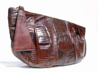 "HUGE 13"" Chocolate 1950's-60's TEGU Lizard Skin CLUTCH Purse G2-103"