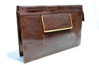 Classic 1950's-60's Sydney of California Chocolate Lizard Clutch