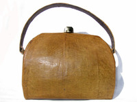 MUSTARD Yellow Green 1950's-60's Lizard Skin Handbag