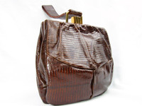 1950's Chocolate Lizard Skin Deco Style Wristlet Purse