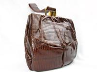 1950's Chocolate Lizard Skin Deco Style Wristlet Purse