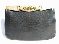 BLACK 1950's-60's ROSENFELD Lizard Skin Handbag w/CAMEOS & JEWELS