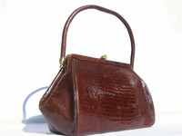 DECO Style 1950's-60's Chocolate Lizard Skin Deco Handbag