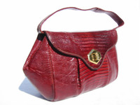 Ruby RED 1950's-60's LIZARD Skin Handbag