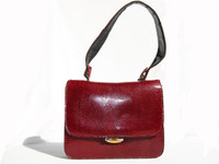 RED 1960's LEDERER de Paris Lizard Skin Shoulder Bag Purse - Italy