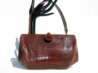 DEITSCH 1950's-60's Chocolate Brown Lizard Skin Handbag