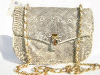 QUILTED 1980's MONITOR (Ring) Lizard Skin Shoulder Bag - LEO REXX
