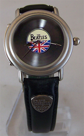 The Beatles Watch in Wooden Guitar Case Vinyl Record Face