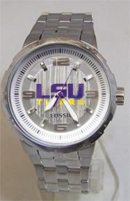 LSU Tigers Fossil Watch. Mens Three Hand Large Logo wristwatch Li3064