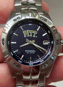 Pittsburgh Pitt Panthers Fossil Watch Mens Three Hand Date Wristwatch