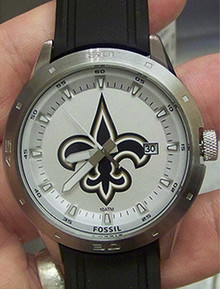 New Orleans Saints Watch Fossil Mens 3 Hand Date With Silicone Strap