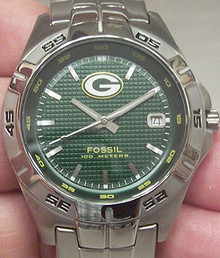 Green Bay Packers Watch. Fossil Mens Three Hand Date NFL1046