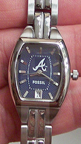 Atlanta Braves Fossil Watch womens ladies Three Hand Date