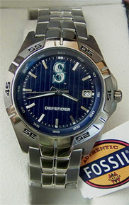 Seattle Mariners Watch Fossil  Mens 3 Hand Applied with Date MLB1024