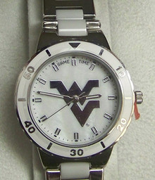 West Virginia Mountaineers Mother of Pearl Watch GameTime COL-PEA-WVU