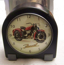 Fossil Motorcycle Wooden Desk Clock Vintage Collectible