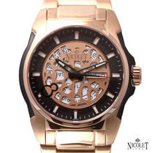 Nicolet Swiss Automatic Date Watch Mens Rose Gold,Black Visible Rotor