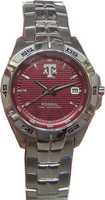 Texas A&M Aggies Fossil Watch Mens three hand Date Wristwatch