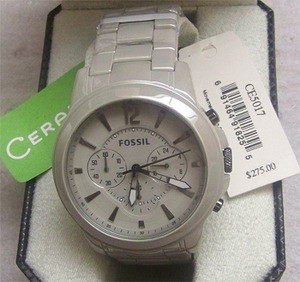 17bad2fcf Fossil Men's Grant Chronograph Ceramic Watch Stone Grey CE5017