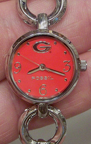 Georgia Bulldogs Fossil Watch Open Link Bracelet Wristwatch LI2792