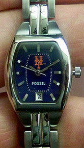 New York Mets Fossil Watch Womens Three Hand Date Wristwatch