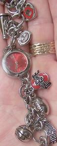 Ohio State Buckeyes Fossil Charm Bracelet Watch Li2744