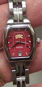 USC Trojans Fossil Watch Womens Three Hand Date Wristwatch Li3045