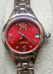 Maryland Terrapins Fossil Watch Womens Open Link Bracelet Wristwatch