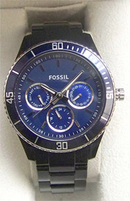 Fossil Womens Blue Multifunction Watch Boyfriend ES2828