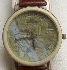 Fossil Washington D.C. Map Watch Vintage Collectible Copper Case